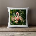 Flamingó Díszpárnahuzat, Képzőművészet, Otthon, lakberendezés, Festmény, Festészet, Flamingók a párnán. Igazi vidám trópusi hangulat, ezek a flamingók nagyon szerelmesek.  100% Pamut ..., Meska