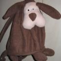 Kutya-hátizsák, Játék, Varrás, Barna és drapp polár anyagból készült ez a mulatságos gyerek hátizsák. A pakolható része 32cm maga..., Meska