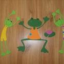 Tavi békák, Baba-mama-gyerek, Dekoráció, Gyerekszoba, Baba falikép, Sablon alapján egyesével kivágott és összeragasztott  gyerekfigurás kartonképek., Meska