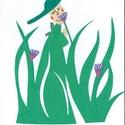 Kalapos fűszoknyás hölgy, Dekoráció, Otthon, lakberendezés, Dísz, Falikép, Gyermek dekorációs kartonkép., Meska