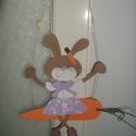 Répán hintázó nyuszilányka, Dekoráció, Kép, Gyermek dekorációs kartonkép, Meska