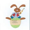 Tojást  festő nyuszi 1, Dekoráció, Kép, Gyermek dekorációs kartonkép, Meska