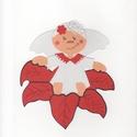 Mikulásvirágon ülő angyalka, Baba-mama-gyerek, Bútor, Otthon, lakberendezés, Falikép, Karton dekoráció, Meska