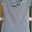 Hímzett póló, Ruha, divat, cipő, Női ruha, Világos kék, pamut, hímzett póló, mérete: XS, Meska