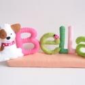 Bella- filc névtábla, Otthon, lakberendezés, Dekoráció, Baba-mama-gyerek, Saját tervezésű, teljes egészében kézzel készült filc névtábla cuki foltos kiskutyával és  katicabog..., Meska