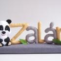 Zalán - pandás filc névtábla, Otthon, lakberendezés, Dekoráció, Baba-mama-gyerek, Saját tervezésű, teljes egészében kézzel varrott filc névtábla, cuki panda macival és zöld levelekke..., Meska