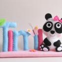 Timi - pandás- pillangós, virágos filc névtábla, Otthon, lakberendezés, Dekoráció, Baba-mama-gyerek, Saját tervezésű, teljes egészében kézzel varrott filc névtábla, cuki masnis panda macival, pillangóv..., Meska