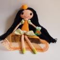 Heléna hercegkisasszony és békája- öltöztethető textilbaba, Gyerek & játék, Játék, Baba, babaház, Plüssállat, rongyjáték, Kb. 37 cm magas, egyedi tervezésű, kézzel varrt, kedves textilbaba királylány ruhában, aprócska kisb..., Meska