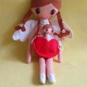 Angelika és kis angyalkája, Gyerek & játék, Játék, Baba, babaház, Plüssállat, rongyjáték, 36 cm magas, egyedi tervezésű, kézzel varrt, kedves angyalka textilbaba.Kézzel készült szív alakú ta..., Meska