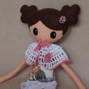 Leila- egyedi kézzel készült textilbaba, Baba-mama-gyerek, Játék, Baba, babaház, Plüssállat, rongyjáték, Kb.38 cm magas, egyedi tervezésű, kézzel varrt, kedves textilbaba csini mini ruhában.  Leila ruhája ..., Meska