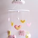 Elefántos babaforgó (puncs-vanilia) - lányos verzió (Azonnal vihető!), Gyerek & játék, Otthon & lakás, Gyerekszoba, Dekoráció, Bájos, vidám gyermekforgó  cuki elefántokkal, pillangókkal, szívecskével és mosolygós felhővel.  A m..., Meska