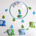 Elefántos babaforgó (kék-zöld) -fiús verzió (Azonnal vihető!), Baba-mama-gyerek, Dekoráció, Gyerekszoba, Bájos, vidám gyermekforgó  cuki elefántokkal, kismadárral és mosolygós felhővel.  A mobil teljes egé..., Meska