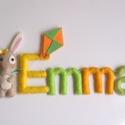 Emma- filc névtábla, Otthon & lakás, Gyerek & játék, Lakberendezés, Dekoráció, Saját tervezésű, teljes egészében kézzel készült filc névtábla bájos nyuszikával és papírsárkánnyal...., Meska