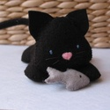 """Fekete cica halacskával """"Tournesol03"""" részére sok-sok szeretettel! :), Baba-mama-gyerek, Játék, Plüssállat, rongyjáték, Varrás, Andi kérése egy fekete cicus halacskával., Meska"""