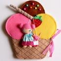 Fanni színes fagyi házikója- játszókönyvecske, Baba-mama-gyerek, Játék, Készségfejlesztő játék, Plüssállat, rongyjáték, Mindenmás, Varrás, Ebben az édes kis  fagyi házikóban lakik Fanni, a bájos fagyibaba és aprócska cicája, Frézi.  Fanni..., Meska