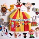 Cirkusz-interaktív játszókönyv 20db kiegészítővel (Azonnal vihető!), Gyerek & játék, Játék, Készségfejlesztő játék, Saját, egyedi tervezésű minta alapján készült vidám, színes textilkönyv, melynek témája a cirkusz és..., Meska