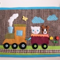 Vonatos textilkép (Azonnal vihető), Baba-mama-gyerek, Játék, Gyerekszoba, Baba falikép, Szövet alapra készített vidám, színes textil kép a gyerekszobába, vonatozó cicussal és kutyussal.  M..., Meska