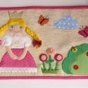 Királylányos textilkép (Azonnal vihető), Baba-mama-gyerek, Játék, Gyerekszoba, Baba falikép, Szövet alapra készített vidám, színes textil kép a gyerekszobába, mosolygós királylánnyal,..., Meska