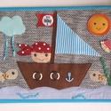 Kalózos textilkép (Azonnal vihető), Baba-mama-gyerek, Játék, Gyerekszoba, Baba falikép, Szövet alapra készített vidám, színes textil kép a gyerekszobába, mosolygós kis kalózzal, v..., Meska