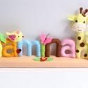 Jamina- madárkás- zsiráfos-pillangós-katicás filc névtábla, Gyerek & játék, Otthon & lakás, Dekoráció, Lakberendezés, Utcatábla, névtábla, Saját tervezésű, teljes egészében kézzel készült filc névtábla kismadárral, cuki zsiráfokkal, katicá..., Meska