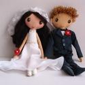 Esküvői pár- egyedi  textilbabák (Rendelhetők!), Esküvő, Nászajándék, Varrás, Egyedi tervezésű, kézzel varrt, menyasszony és vőlegény textilbabák, fonal hajjal, textilbőr cipőkk..., Meska