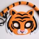 Tigris farsangi jelmez szett –Azonnal vihető!, Dekoráció, Ünnepi dekoráció, Farsangi jelmez, Egyedi tervezésű, filc anyagból készült, aprólékos és gondos munkával ez a tigris álarc é..., Meska