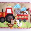 A farm állatai- interaktív játszókönyv 10db állatkával (Azonnal vihető!) , Gyerek & játék, Játék, Készségfejlesztő játék, Saját, egyedi tervezésű minta alapján készült vidám, színes textilkönyv, melynek témája a tanya és a..., Meska