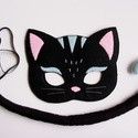 Fekete macska farsangi jelmez szett (Rendelhető!), Dekoráció, Játék, Ünnepi dekoráció, Farsangi jelmez, Egyedi tervezésű, filc anyagból készült, aprólékos és gondos munkával ez a fekete cica álarc és a ho..., Meska