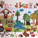 Tanya-erdő imteraktív falvédő 20db álllatkával- hasonló rendelhető!, Gyerek & játék, Otthon & lakás, Gyerekszoba, Falvédő, takaró, Dekoráció, Színes, vidám interaktív falvédő  házikóval, veteményes kerttel, virágágyással, felhőkkel, traktorra..., Meska