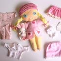 Borka- öltöztethető textilbaba kisnyuszival és kiegészítőkkel (azonnal vihető!), Gyerek & játék, Játék, Baba, babaház, Kedves, mosolygós,fonott copfos baba, mindenféle ruha darabbal és egy aprócska őzikével. Arca kézzel..., Meska