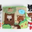 Az erdő állatai- interaktív játszókönyv 10db állatkával - AZONNAL VIHETŐ!!, Gyerek & játék, Játék, Készségfejlesztő játék, Saját, egyedi tervezésű minta alapján készült vidám, színes textilkönyv, melynek témája az erő és an..., Meska