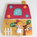 Pöttyös hajtogatós házikó-játszókönyvecske (Azonnal vihető), Gyerek & játék, Játék, Készségfejlesztő játék, Baba, babaház, Ebben a vidám, szívecskés házikóban lakik Bibi és kis házi állatai. Mimi, ha éppen nem gyönyörű kert..., Meska