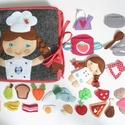 Főzőcske könyvecske rengeteg pakolászni -főzni valóval és cuki kis kuktával! (AZONNAL VIHETŐ!), Gyerek & játék, Játék, Készségfejlesztő játék, Baba, babaház, Saját, egyedi tervezésű minta alapján készült vidám, színes textilkönyv, melynek témája a sütés-főzé..., Meska