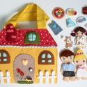 Családi táska-házikó- AZONNAL VIHETŐ!!!, Gyerek & játék, Játék, Baba, babaház, Saját tervek alapján készült ez a vidám, interaktív családi házikó játszókönyvecske, 4tagú családdal..., Meska