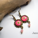 Szellőrózsa - fülbevaló, Sötét-halvány rózsaszínes szellőrózsás fü...