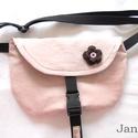 rózsaszín barna  - övtáska, Halvány rózsaszín kordbársonyból készült ö...