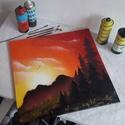 Napfelkelte festmény - festékszóróval készült, Otthon & lakás, Képzőművészet, Festmény, Festmény vegyes technika, Festészet,  Festményemet feszített vászonra készítettem. Egy csodaszép tájképet ábrázol fenyőkkel, távoli hegy..., Meska