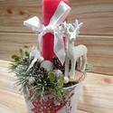 Karácsonyi asztaldísz szarvas figurával, Karácsony & Mikulás, Karácsonyi dekoráció, Mindenmás, Mutatós karácsonyi dekoráció, glitteres szarvassal, száraz termésekkel, piros gyertyával, mintás ke..., Meska