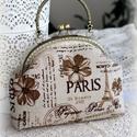 Paris len kézitáska, Táska, Pénztárca, tok, tárca, Zsebkendőtartó, Finom színekkel Paris, lenből készült táska.  16cm-es kerettel készítettem, merevítettem az anyagot ..., Meska