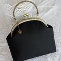 Fekete alkalmi textilbőr csatos táska,kézitáska, Táska, Pénztárca, tok, tárca, Zsebkendőtartó, Fekete textilbőrből varrtam ezt a táskát amely bármely alkalomra megállja a helyét!   Ez az a táska,..., Meska