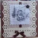 Egyedi, kézműves barna karácsonyi képeslap, Naptár, képeslap, album, Ajándékkísérő, Képeslap, levélpapír, Gyönyörű, egyedi barna karácsonyi képeslap.   Teljes mértékben kézzel készül scrapbook technikával. ..., Meska