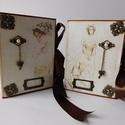 Egyedi, kézműves vintage esküvői scrapbook fotó-fólioalbum pár titkos zsebbel, Esküvő, Naptár, képeslap, album, Nászajándék, Fotóalbum, Gyönyörű vintage stílusú fólió- fotóalbumokat készítek teljes mértékben kézzel, scrapbook technikáva..., Meska