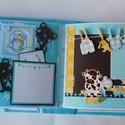 """""""This is a boy world!"""" - egyedi, kézműves scrapbook babakönyv, Baba-mama-gyerek, Naptár, képeslap, album, Fotóalbum, Jegyzetfüzet, napló, Papírművészet, Varrás, Ez a nagyméretű, teljes mértékben kézzel készült babakönyv kicsit interaktív, kicsit hagyományos. 1..., Meska"""