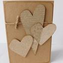 Natúr szívek- egyedi, kézműves képeslap szerelmeseknek, Esküvő, Naptár, képeslap, album, Nászajándék, Képeslap, levélpapír, Papírművészet, Mondd el az érzéseidet kedvesednek ebben a nagyon különleges, teljes mértékben kézzel készült natúr..., Meska