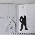 Egyedi, kézműves hófehér táska esküvői scrapbook album 100 fotónak