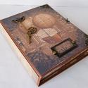 Egyedi, kézműves steampunk scrapbook notesztartó, Férfiaknak, Naptár, képeslap, album, Steampunk ajándékok, Jegyzetfüzet, napló, Papírművészet, Egyedi, kézműves scrapbook notesztartót készítettem két kivehető notesszel.  A notesztartó keménytá..., Meska