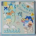 Egyedi kézműves babakép, babaszoba dekoráció üres helyekkel a születési adatoknak, Baba-mama-gyerek, Naptár, képeslap, album, Gyerekszoba, Baba falikép, Egyedi, kézműves scrapbook fali babakép, melyen üres felületeket, díszeket helyezek el a baba szület..., Meska