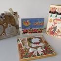Egyedi, kézműves családi karácsonyi képeslap- csomag, Naptár, képeslap, album, Otthon, lakberendezés, Ajándékkísérő, Papírművészet, Ebben a csomagban 4 vintage karácsonyi képeslapot tettem, melyek mindegyike kézzel készült. A csalá..., Meska