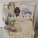 Régi idők karácsonya - egyedi, kézműves vintage karácsonnyi képeslap, Naptár, képeslap, album, Otthon, lakberendezés, Ajándékkísérő, Papírművészet, Gyönyörű vintage karácsonyi képeslapot készítettem mix- media technikával. Az alapja 230 grammos va..., Meska