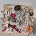 Angyali üdvözlettel - egyedi, kézműves karácsonyi képeslap, Naptár, képeslap, album, Otthon, lakberendezés, Ajándékkísérő, Gyönyörű, kézműves karácsonyi képeslapot készítettem mixed media technikával, melyben az ünnephez mé..., Meska